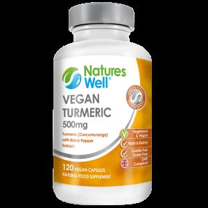 Vegan Turmeric 500mg with Black Pepper Extract, 120 Vegan Capsules