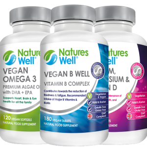 Brain & Mind Bundle,Optimised Multivitamin and Minerals, Assured Halal and Kosher, Vegan B Well (B Complete) 180 Vegan Tablets, Vegan Omega 3 EPA DHA Algae Oil 120 Vegan Soft gels, Calcium, Magnesium & Vitamin D 120 Vegetarian Tablets, Discounted by 20%