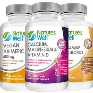 Joints & Bones Health Bundle, Optimised Multivitamin and Minerals, Assured Halal and Kosher, Calcium, Magnesium & Vitamin D 120 Vegetarian Tablets, Vegan Glucosamine Hydochloride 750mg 100 Vegan Tablets, Vegan Turmeric with Black Pepper Extract 120 Vegan Capsules, Discounted by 20%
