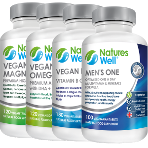Men's Health Bundle,Optimised Multivitamin and Minerals, Assured Halal and Kosher, Men's One Multivitamin 100 Vegetarian Tablets, Vegan B Well (B Complete) 180 Vegan Tablets, Vegan Magnesium 300mg 120 Vegan Tablets, Vegan Omega 3 EPA DHA Algae Oil 120 Vegan Soft gels, Discounted by 20%