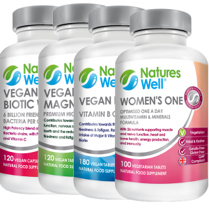 Women's Health Bundle,Optimised Multivitamin and Minerals, Assured Halal and Kosher, Women's One Multivitamin 100 Vegetarian Tablets, Vegan B Well (B Complete) 180 Vegan Tablets, Vegan Magnesium 300mg 120 Vegan Tablets, Vegan Biotic Well Probiotic, Prebiotic & Vitamin C 120 Vegan Capsules