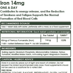 Vegan Iron High Strength 14mg, 120 Tablets, Energy Production, Cognitive Function, Blood Cell Formation, Iron Deficiency Anaemia Optimised Formula.