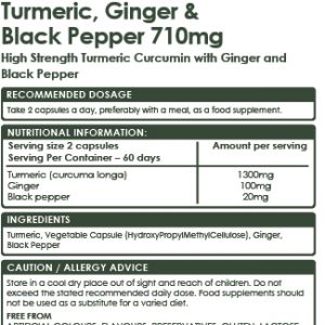 Vegan Turmeric Curcumin, Ginger with Black Pepper 710mg – 120 High Strength Capsules (1420mg Per Serving) Formulated for Maximum Absorption.