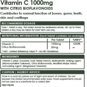 Vegan Vitamin C 1000mg with Citrus Bioflavonoids, 100 Tablets, Premium High Strength, Immune System, Teeth, Bone, Cartilage and Skin Health. Collagen Formation.