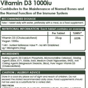 Vegan Vitamin D3 1000 IU, 100 Tablets for Bones, Teeth, Immune System, High Strength Sustainable plant-based cholecalciferol.